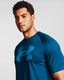 Herren T-Shirt Under Armour Big Logo Tech SS blau