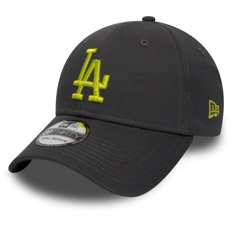 Kappe New Era 39Thirty League Essential MLB Los Angeles Dodgers Graphite/Cyber Green